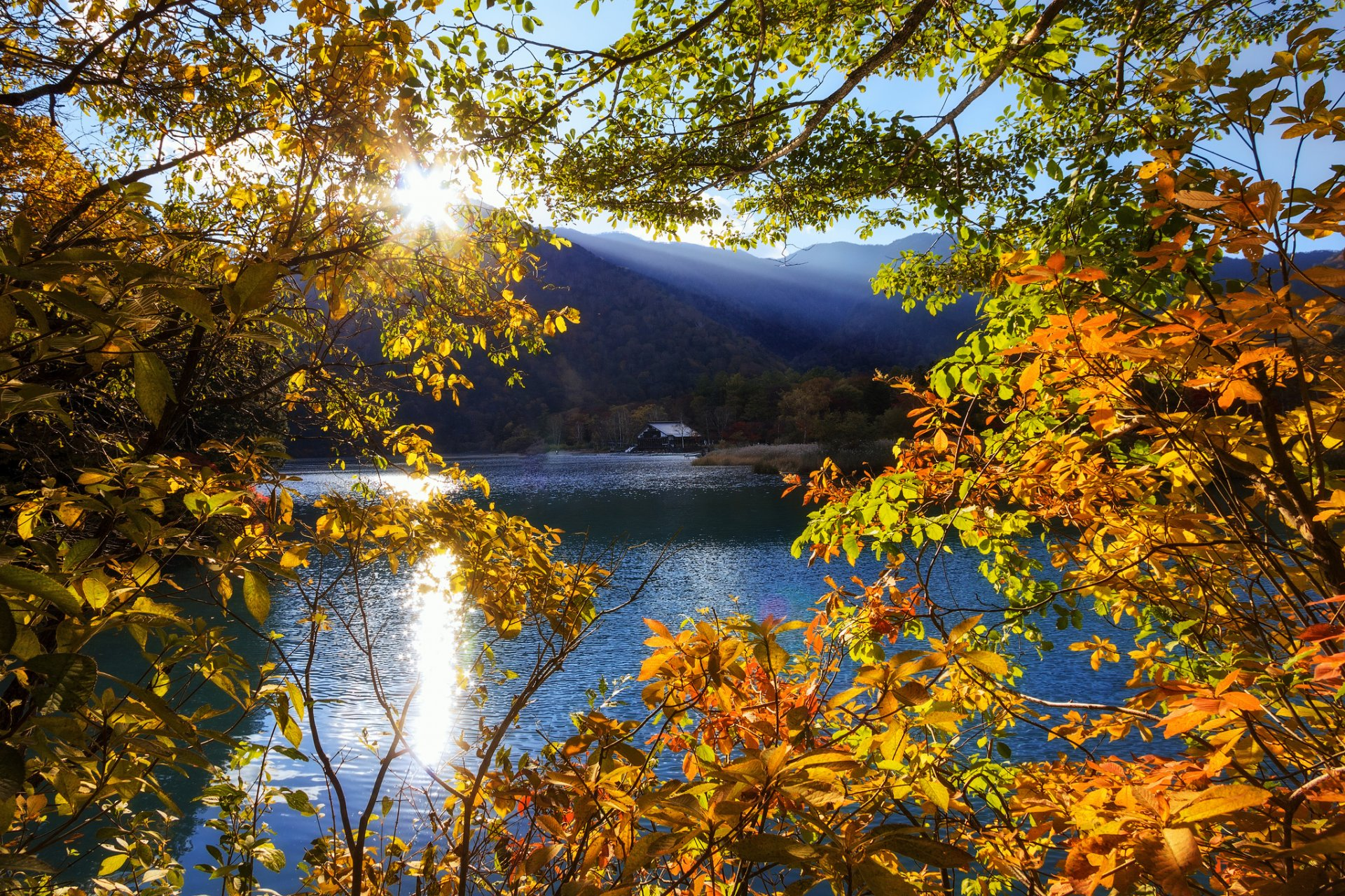 japan-nikko-tochigi-mountain-lake-tree-sun-rays